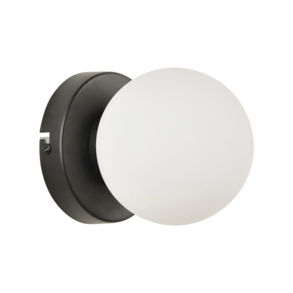 Aplique Seventy - negro - tulipa esfera opal - clasico - Liderlamp (5)