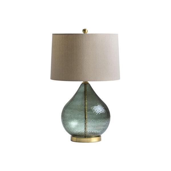 Sobremesa Fowler - estilo clasico - pantalla de lino - lampara salon - vidrio verde - Liderlamp (1)