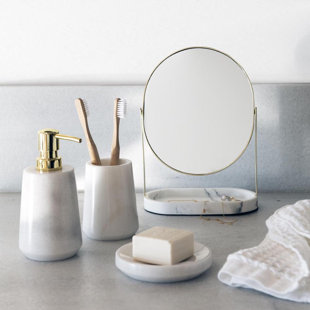 Jabonera Valka - Marmol blanco - set de bano - estilo clasico - Liderlamp (2)