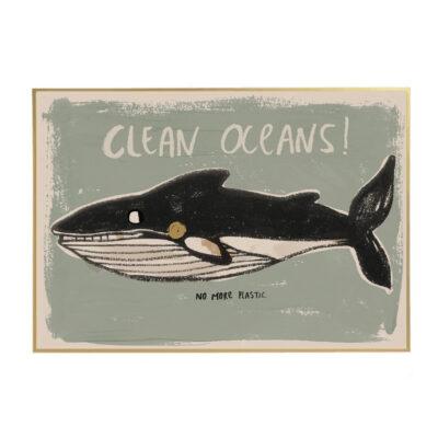 Lamina Clean Oceans - ilustracion ninos - deco infantil - ecologia - Liderlamp (1)