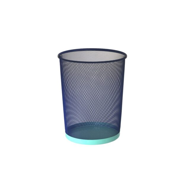 Papelera - color azul - oficina en casa - decoracion - metal bicolor - Liderlamp