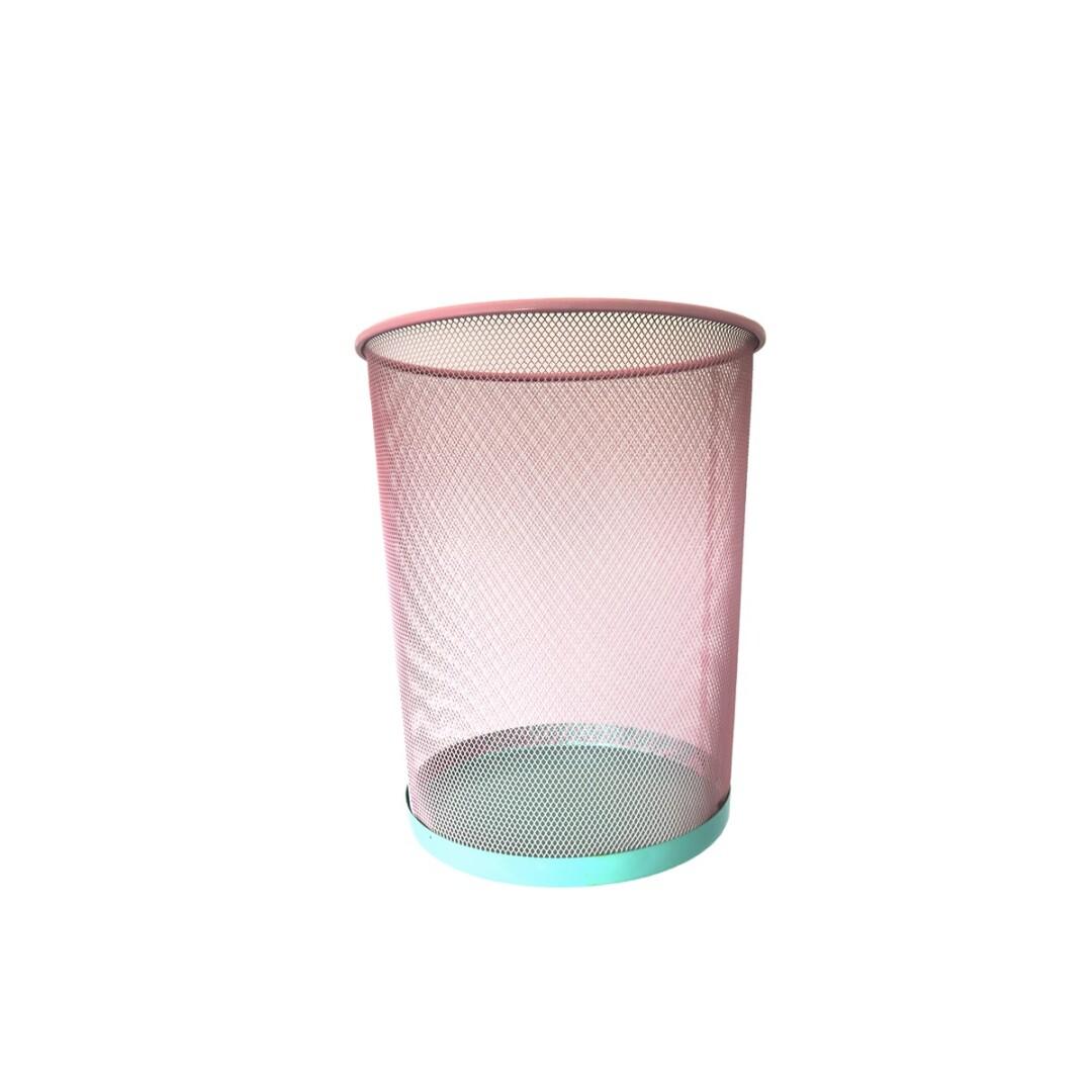 Papelera - color rosa - oficina en casa - decoracion - metal bicolor - Liderlamp