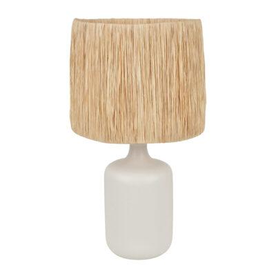 Sobremesa Naoussa - fibre natural - rafia - ceramica - lampara de mesa - Liderlamp (1)