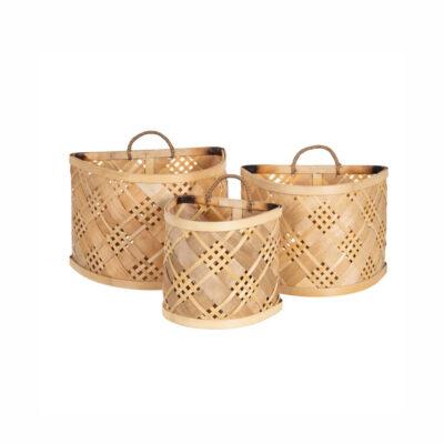 Set 3 Cestas Colgantes Kotte - bambu - fibras naturales - orden - recibidor - Liderlamp (1)